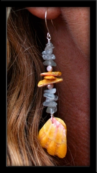 Aquamarine, Pearls & Sunrise Shell Chip Earrings
