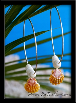 "3"" Big Hoops Orange Sunrise Shell & Puka Shells Silver Earrings"