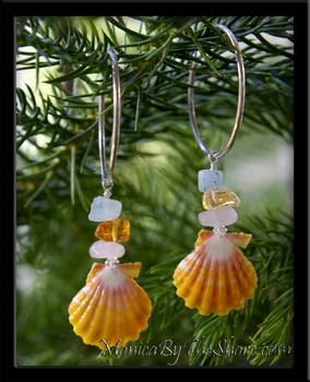 Sunrise Shell & Gem Stone Silver Hoop Earrins