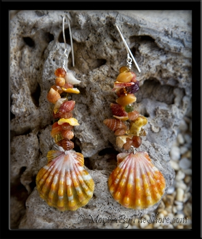 "Custom for ""Winna"" Hawaiian Sunrise Shells, Gemstones, Fire Opals & Seashell Earrings"