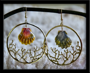 "Custom for ""Molly"" Green & Pink Hawaiian Sunrise Shell Gold Coral Hoop Earrings"
