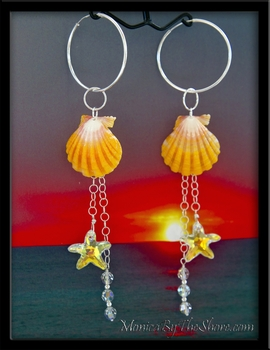 Hawaiian Sunrise Shells & Swarovski Crystal Star Fish & Bubble Earrings