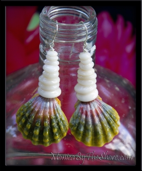 Dark Green & Red Large Hawaiian Sunrise Shell & North Shore Puka Shell Earrings