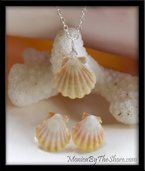 Delicate Pink Yellow & White Baby Sunrise Shell Earrings & Pendant Set