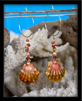 Gold Hoop Sunrise Shell & Kahelelani Shells Earrings