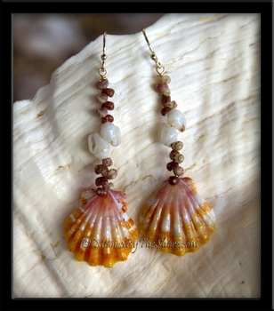 Hawaiian Kahelelani, Momi Shells & Sunrise Shell Earrings