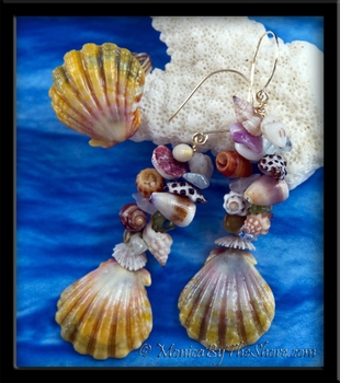 "Custom for ""Heidi"", ""Rainbow Fantasy Sunrise Shell & Seashell"" Earrings & Ring Set"