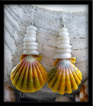 Big Rainbow Sunrise Shell & Puka Shells Earrings
