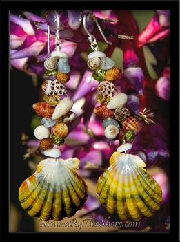 Fantasy Sunrise Shell & Seashell & Gemstone Earrings