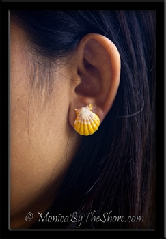 Lemon Yellow & White Hawaiian Sunrise Shell Post Silver Stud Earrings