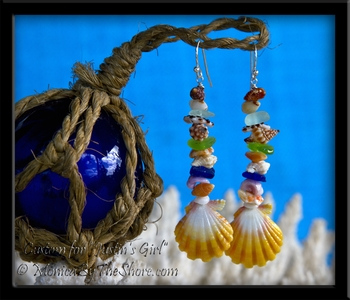 "Custom Sunrise Shell, Sea Glass & Sea Shells ""Beach Candy"" Hawaii Earrings"