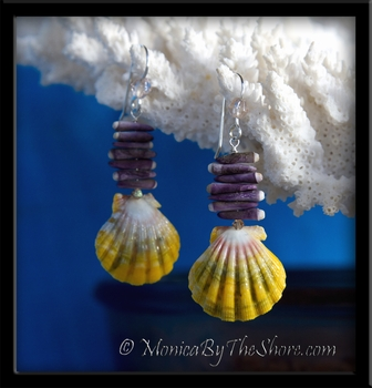 Purple Sea Urchin & Rainbow Sunrise Shell Earrings