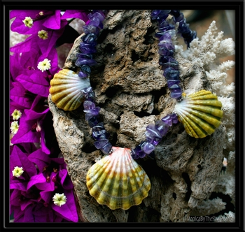 3 Rare Green Sunrise Shells & Amethyst Lei Necklace