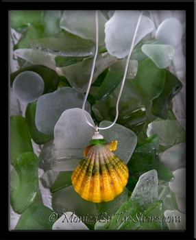 Sea Glass, Sunrise Shell & Puka Shell Silver Snake Chain Necklace