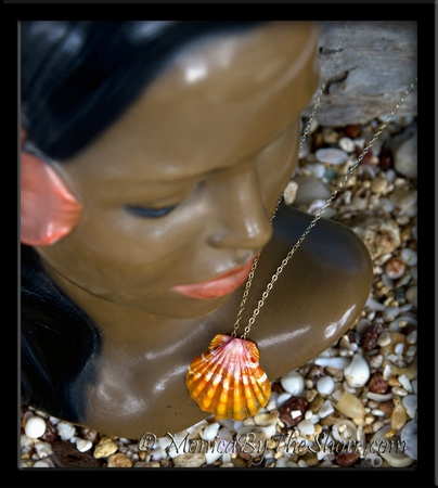 Deep Orange Hawaiian Sunrise Shell Gold Flat Cable Chain Necklace