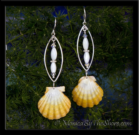 Lemon Yellow Sunrise Shell Silver Fish, Mother of Pearl & Crystal Earrings