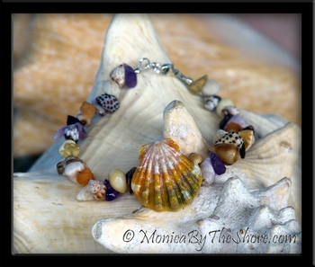 Beach Candy Sunrise Shell & Amethyst Gemstone Seashell Bracelet