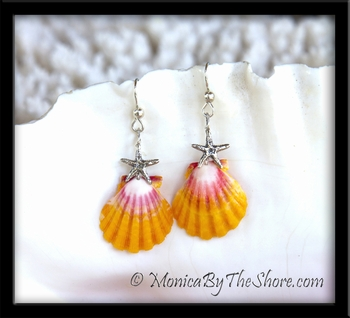 Hawaii Sunrise Shells & Sterling Silver Starfish Earrings