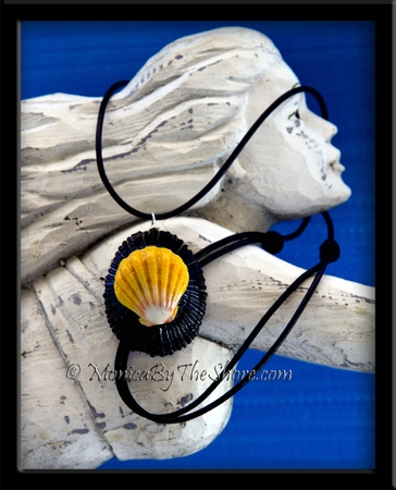 Black Opihi & Classic Yellow Hawaiian Sunrise Shell Pendant & Black Leather Necklace