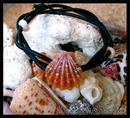 Orange Hawaiian Sunrise Shell Naturalist Leather Cord Bracelet Anklet