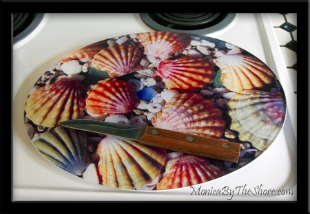 Large MonicaByTheShore Textured Glass Sunrise Shells Cutting Board