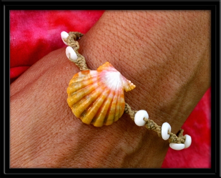 Yellow Peach Sunrise Shell Puka Macrame Bracelet