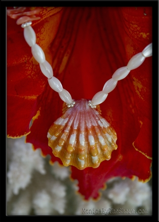 Pink, Orange & White Sunrise Shell, Mother of Pearl & Coral Necklace