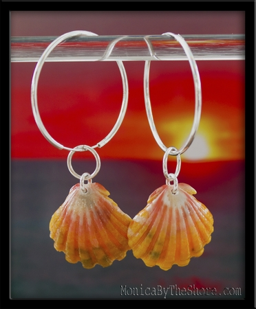 Bright Peach & Yellow Sunrise Shell Sterling Silver Hoop Earrings