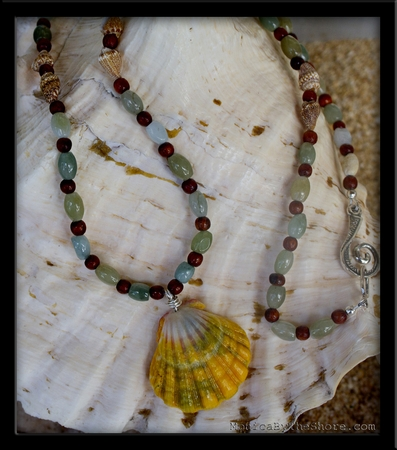 Custom Aqua Jade, Koa Wood & Sunrise Shell Lei Clark Little