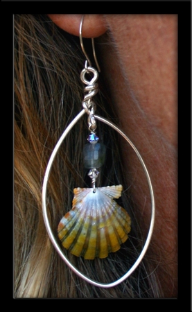 Green Sunrise Shells Crystals & Silver Hoops Earrings