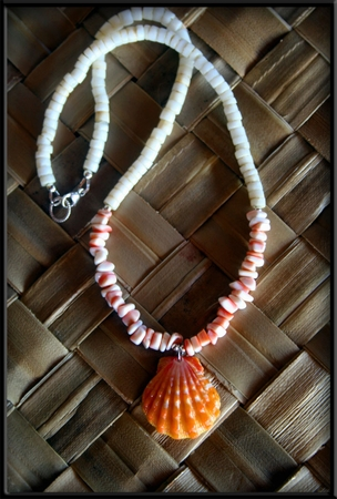 Pink Sunrise Shell & Conch Shell Chip Necklace