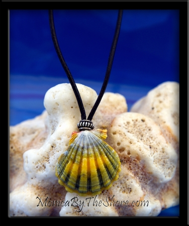 Green Gold Hawaiian Sunrise Shell Black Leather Cord Necklace