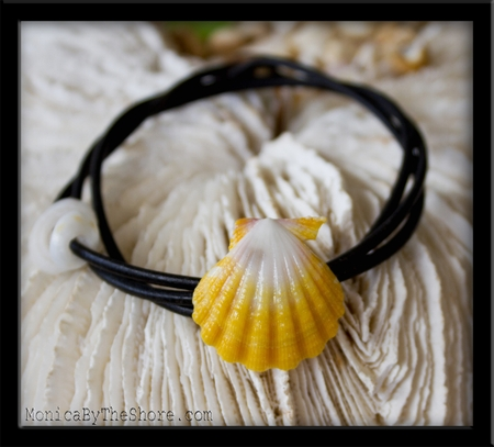Bright Yellow & White Hawaiian Sunrise Shell Naturalist Leather Bracelet Anklet