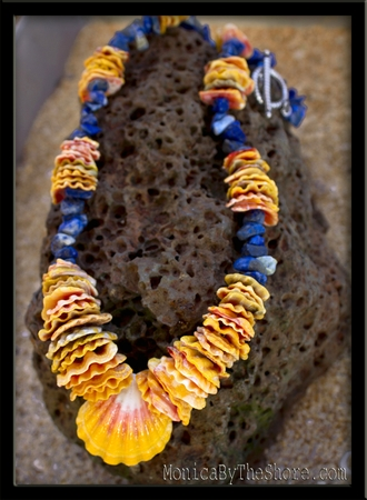 Custom Sunrise Shell & Blue Lapis Wedding Lei for Kenny