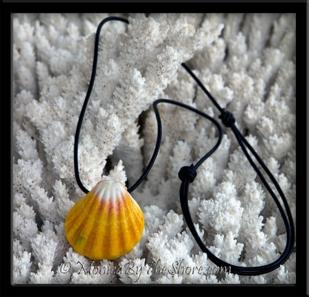 Classic Hawaiian Sunrise Shell Floating Pendant & Barrel Knot Adjustable Leather Necklace