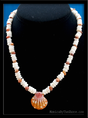 Custom Sunrise Shell & Puka Shell Necklace Sheri