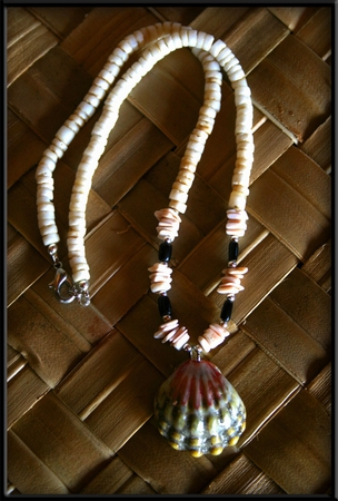 Green Pink Sunrise Shell Black Coral Necklace