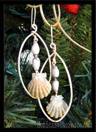 Green Sunrise Shells, Job's Tears & Swarovski Crystal Hoop Earrings