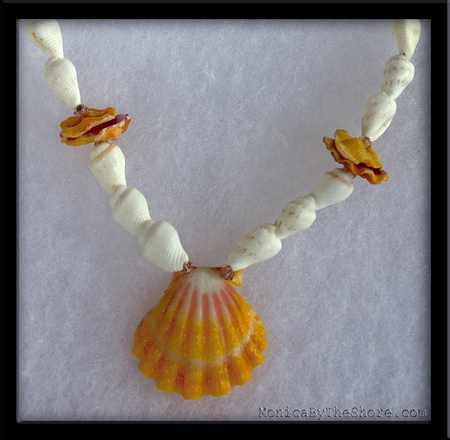 Girls Hawaiian Sunrise Shell & White Seashell Necklace