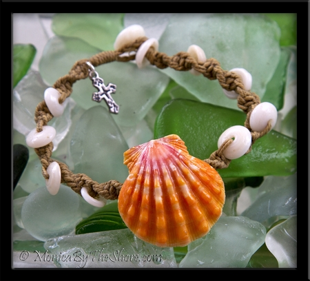 Custom for Valerie Hawaiian Sunrise Shell & North Shore Puka Shell Macrame Bracelet