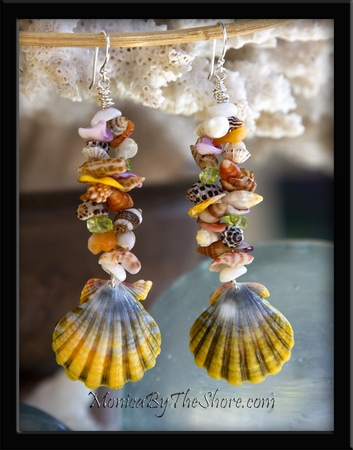"Custom ""Fantasy"" Sunrise Shell & Seashell Earrings for ""Chris' Girl"""