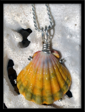 Large Pink Yellow Green Sunrise Shell Silver Necklace