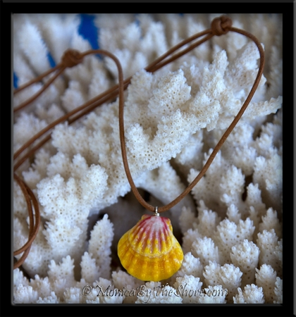 Classic Hawaiian Sunrise Shell Pendant on Natural Leather Cord Neckalce