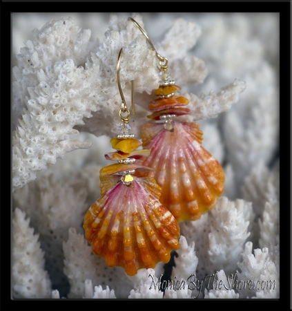 Custom Pink & Orange Sunirse Shell Gold Earrings