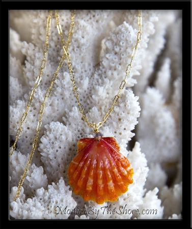Hibiscus Orange Hawaiian Sunrise Shell Gold Chain Necklace