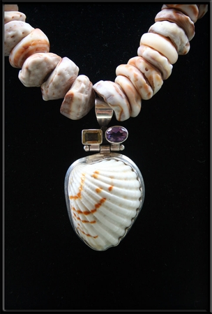 Cone Puka Shell Necklace, Clam Shell Amethyst Topaz Pendant