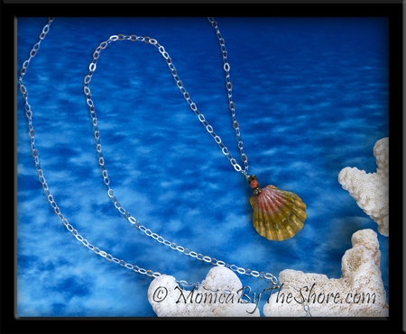 "Green Pink Moonrise Sunrise Shell Pendant on 36"" Long-Cable Silver Chain Medallion Necklace"