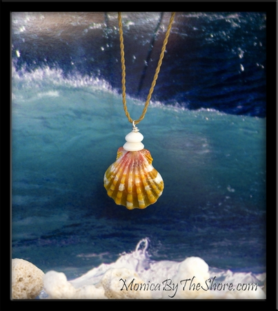 Pink Gold Keep da Country Country Hawaiian Sunrise Shell & Puka Shells Necklace
