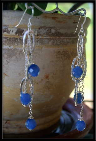 Fine Silver Link & Coblat Blue Agate Stone Earrings
