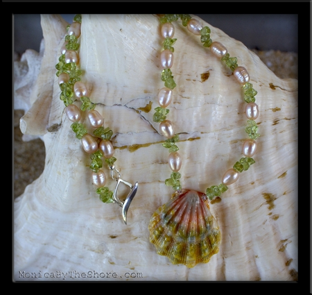 Soft Pink & Green Sunrise Shell, Pearl and Peridot Necklace